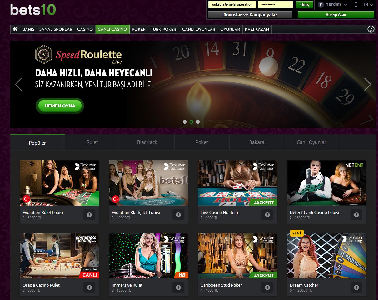 Bets10 Canlı Casino - 105Bets10